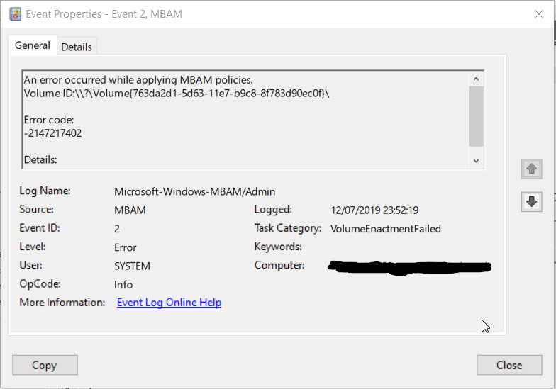 MBAM Policy Error code: -2147217402 on Windows 10 1903
