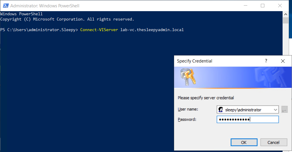 Sign on single connect-viserver PowerCli vCenter